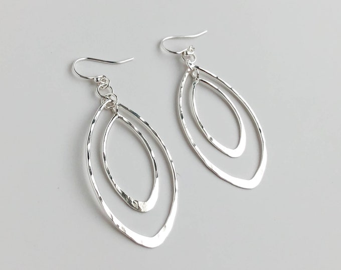 Hammered Silver Leaf Orbit Earrings
