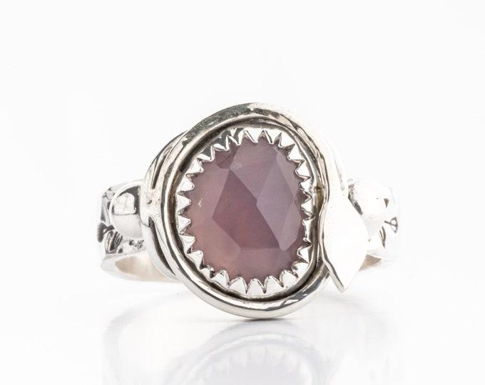 Purple Chalcedony Gemstone Ring