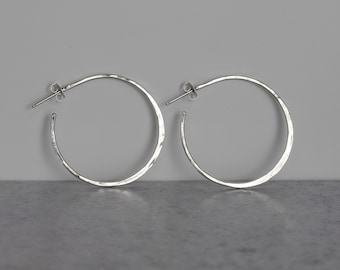 "1.5"" Hammered Sterling Silver Hoops"