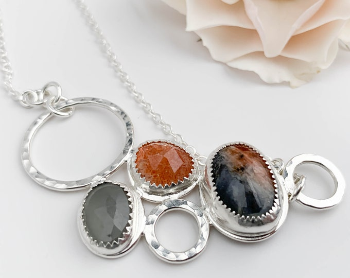 Gray & Orange Gemstone Bubble Necklace