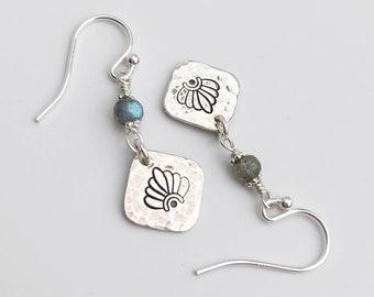 Labradorite  & Hammered Silver Dangle Earrings