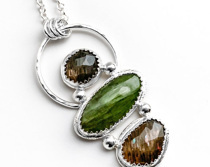 Green and Brown Rock Stack Pendant Necklace
