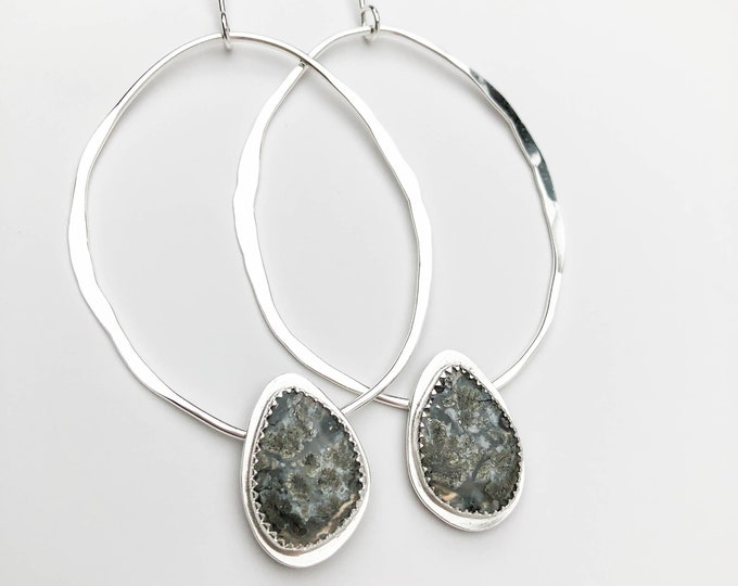 Hammered Silver and Pyrite Agate Statement Earrings