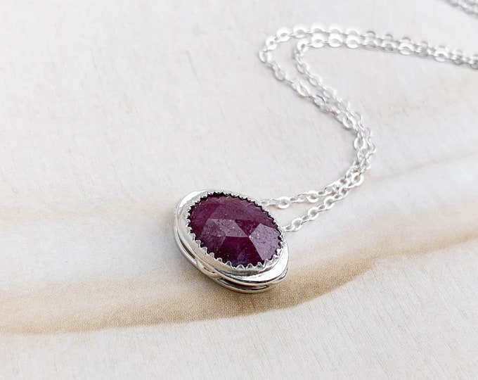 Sliding Ruby Pendant Necklace