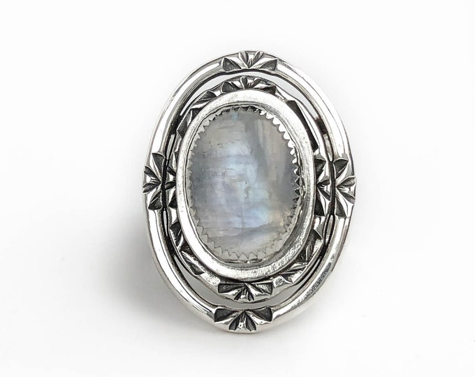 Big Oval Rainbow Moonstone Ring