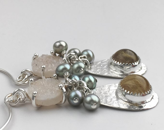 Druzy, Pearl & Rutilated Quartz Earrings
