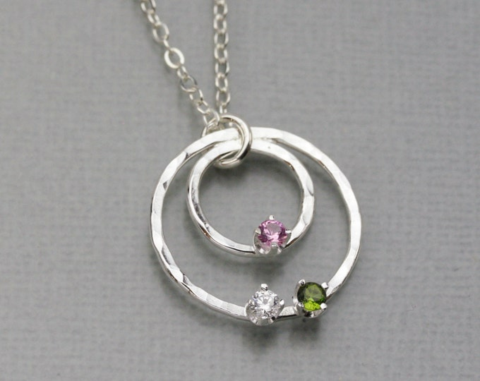 Personalized Two Circle Birthstone Necklace