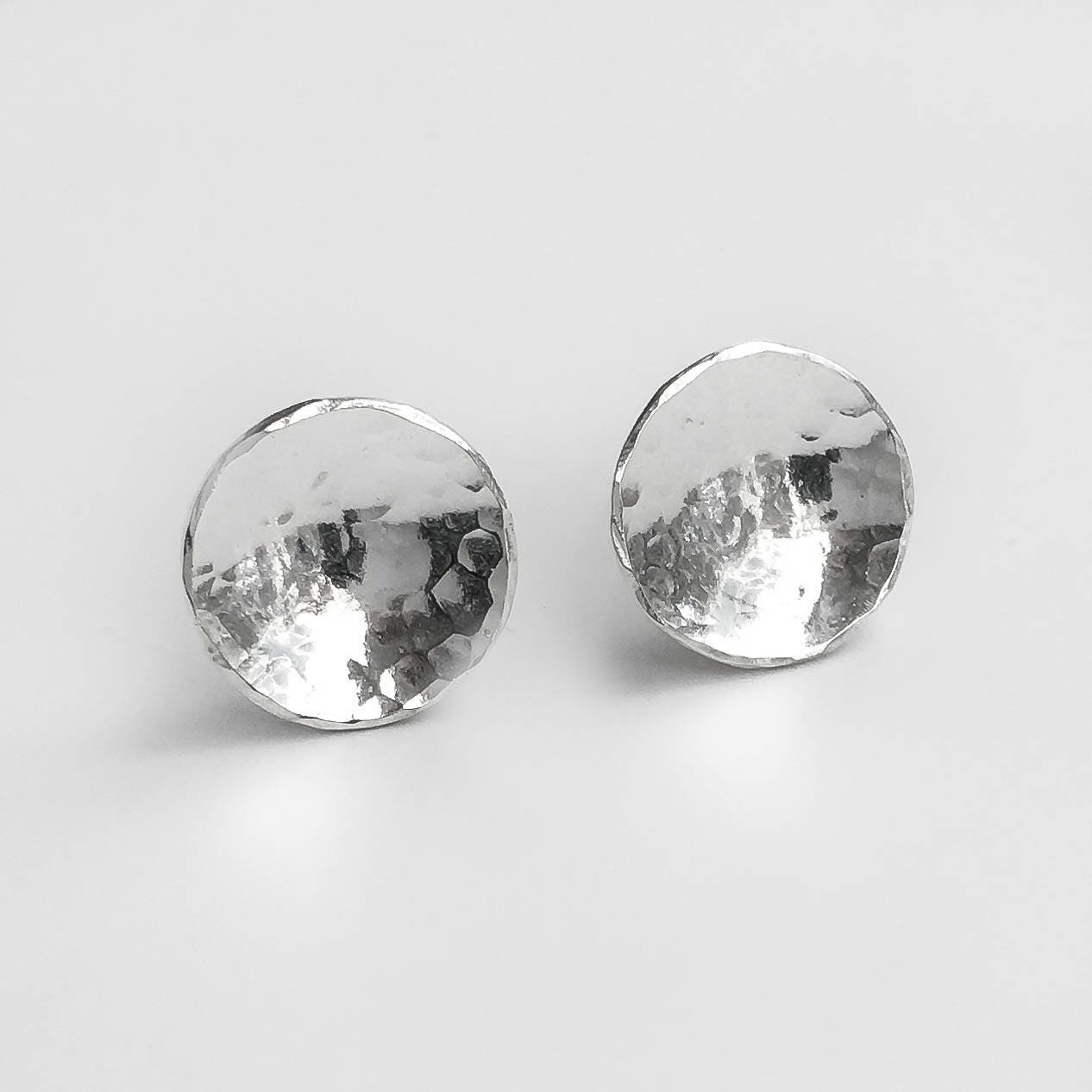 1df67511d Hammered Silver Disc Stud Earrings