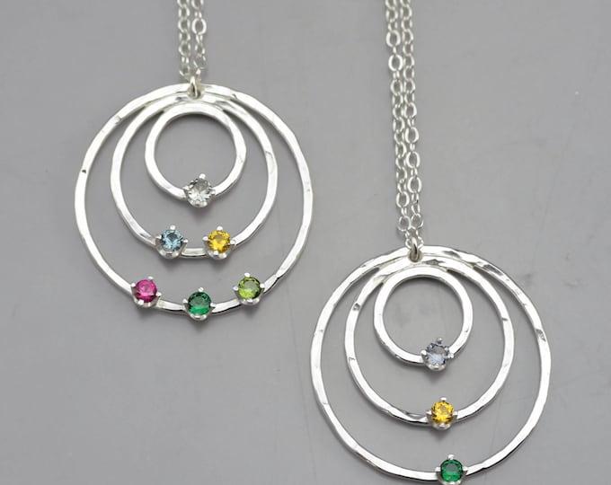 Three Circle Birthstone Pendant Necklace