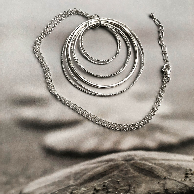 Statement Necklace Boho Artisan Silver Jewelry Long Sterling Silver Necklace -Cluster of Circles Pendant Necklace 30 Inch Silver Chain