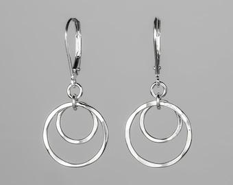 Small Silver Circles Lever back Earrings - Minimalist Jewelry - Lightweight, Nickel Free Sterling Silver Dangle Earrings - Short Earrings