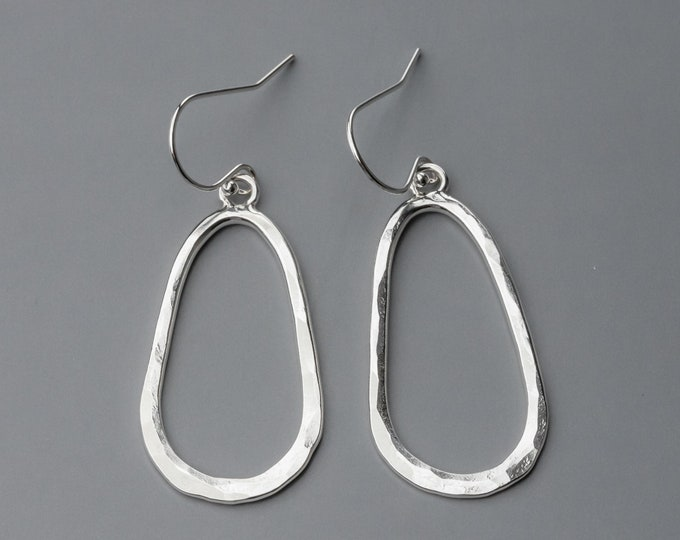 Hammered Silver Oval Earrings