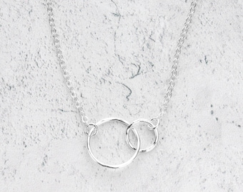 Hammered Sterling Silver Two Circle Necklace - Delicate Everyday Silver Jewelry - Gifts Under 50 - Interlocking Circles Necklace