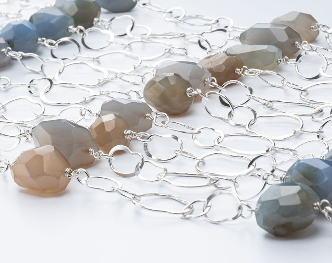 Long Handmade Chain Necklace with Natural Agate Stones