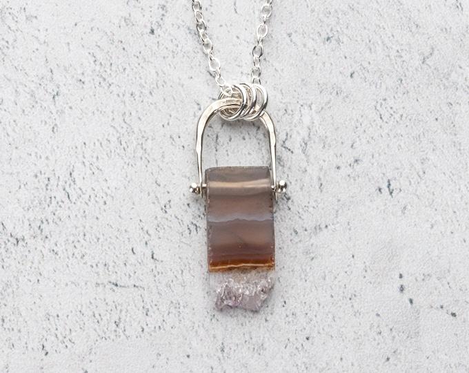 Stalactite Slice Stone Pendant Necklace