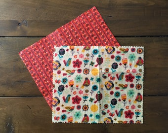 "Set of 2 Snack Size (10"" x 8.5"") Beeswax Food Wraps - Folk Themed-  Reusable and Eco-Friendly! sku BWW2PK1"