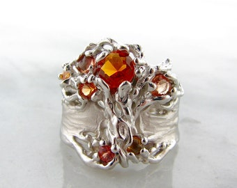 Orange Tree of Life Sapphire, Opal, and Citrine Ring. Spreading tree holding orange and peach color gradient