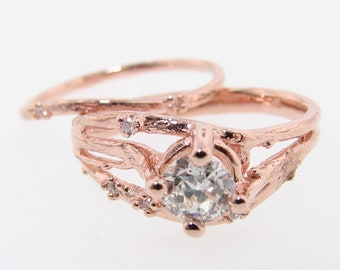 Cherry Blossom Branch Wedding Set, Diamond & White Gold
