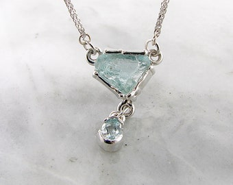 Ice Floe Raw Aquamarine Necklace, Rough cut with faceted Drop