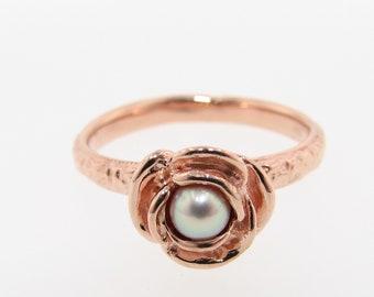 Pink Pearl Rosebud  Rose Gold Ring, Stacking Solitaire Rose. Diamond alternative engagement rose shaped