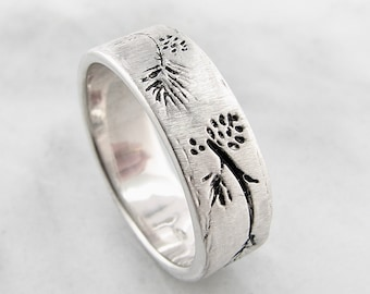 Ponderosa Pine Band Antiqued, Nature wedding band, Pinecones and pine boughs, tree branch ring