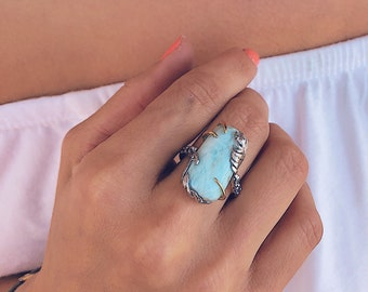 Silver and Gold Two-tone Larimar Ring, Tropical Getaway. Palm leaf and ocean blue ring with blue zircon accents. Large blue statement ring