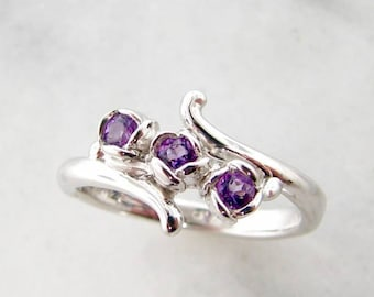 Amethyst Three Rosebud Ring in Sterling Silver. Purple Rose Shaped ring with curling vine dainty band