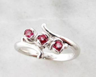 Pink Topaz Three Rosebud Ring in Sterling Silver. Rose Shaped ring with curling vine dainty band
