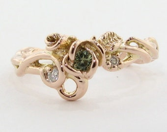 Rose Garden Ring, Pink gold with Green Sapphire and Diamond Accents. Rose gold dainty ba