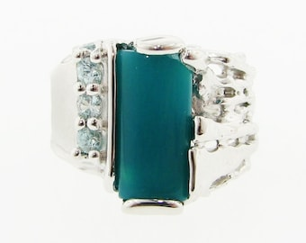 Blue on Blue- Chrysocolla and Blue Zircon Ring in silver. Wide bold statement ring with asymmetrical organic tree root design