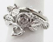 Thorned Rose Wedding Set, Silver Diamond