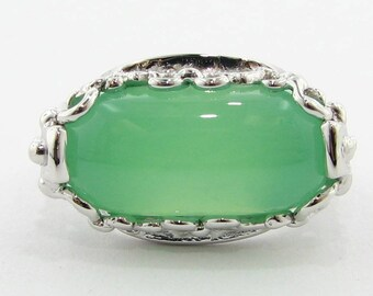 Green Chrysoprase and Silver Ring, Ancient Bridge Filigree Design