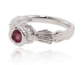 Corset Ring, Sterling Silver with Pink sapphire