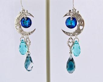 Silver Crystal Dangle Earrings, Blue Moon Celestial