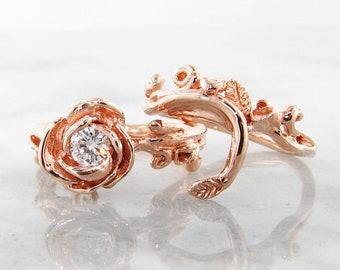 Rose Garland Wedding Set Rose 14k Gold & Diamond - Made To Order