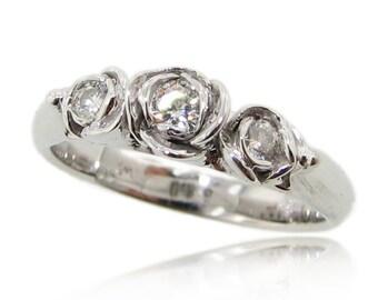 Trieste Roses II: 14K white gold and Moissanite Rosebud ring. Conflict free Diamond Alternative