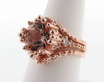 Morganite and Diamond wedding set, Rose Gold. Triple ring set with natural peach toned morganite