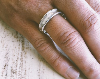 Medium Melted Band, Sterling Silver. 6mm wide wedding band, promise ring, boho ring. Engraving available. freeform water design