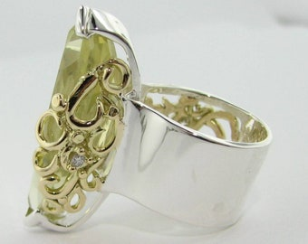 Silver and Gold Confection Ring with Extra Large Lemon Yellow Quartz