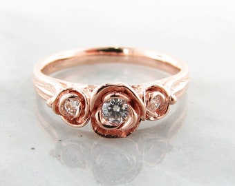 Three Roses Ring in Rose Gold with Moissanite. Rose Shaped Engagement or Wedding band conflict free diamond alternative