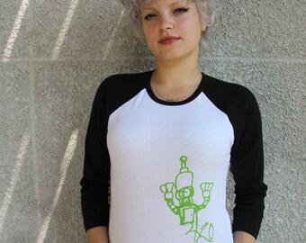 Classic Bot Robot Baseball Tee Shirt - Black American Apparel Womens Medium