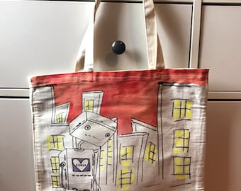"""Wild Cat Fun Tote Bag Artist Series """"Robot Lost and Love"""" by Ellei J 35/80"""