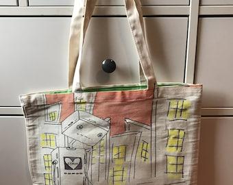 "Wild Cat Fun Tote Bag Artist Series ""Robot Lost & Love"" by Ellei J 13/80"