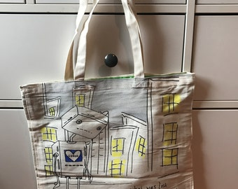 "Wild Cat Fun Tote Bag Artist Series ""Robot Lost & Love"" by Ellei J 17/80"