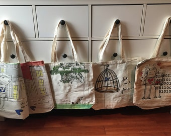 "Wild Cat Fun Tote Bags Artist Series ""Robot Lost & Love"" by Ellei J 32/80"