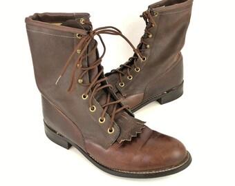 31a0f05b37834 Leather fringe boots | Etsy
