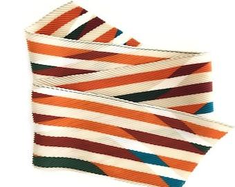 Vintage Pleated Rainbow Stripe Hair Scarf