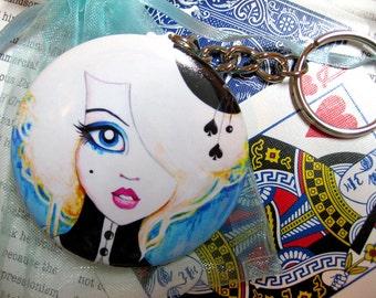 Alice in Wonderland Art Round Key Chain