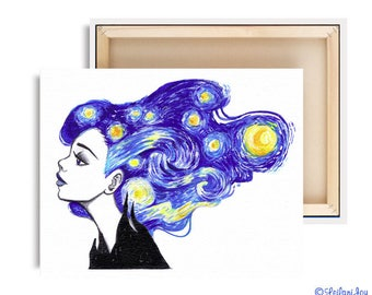 LIMTED EDITION Starry Night Canvas Reproduction Print 7 of 10