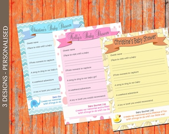 Baby Shower Game - Bucket List Game (yellow)  INSTANT DIGITAL DOWNLOAD